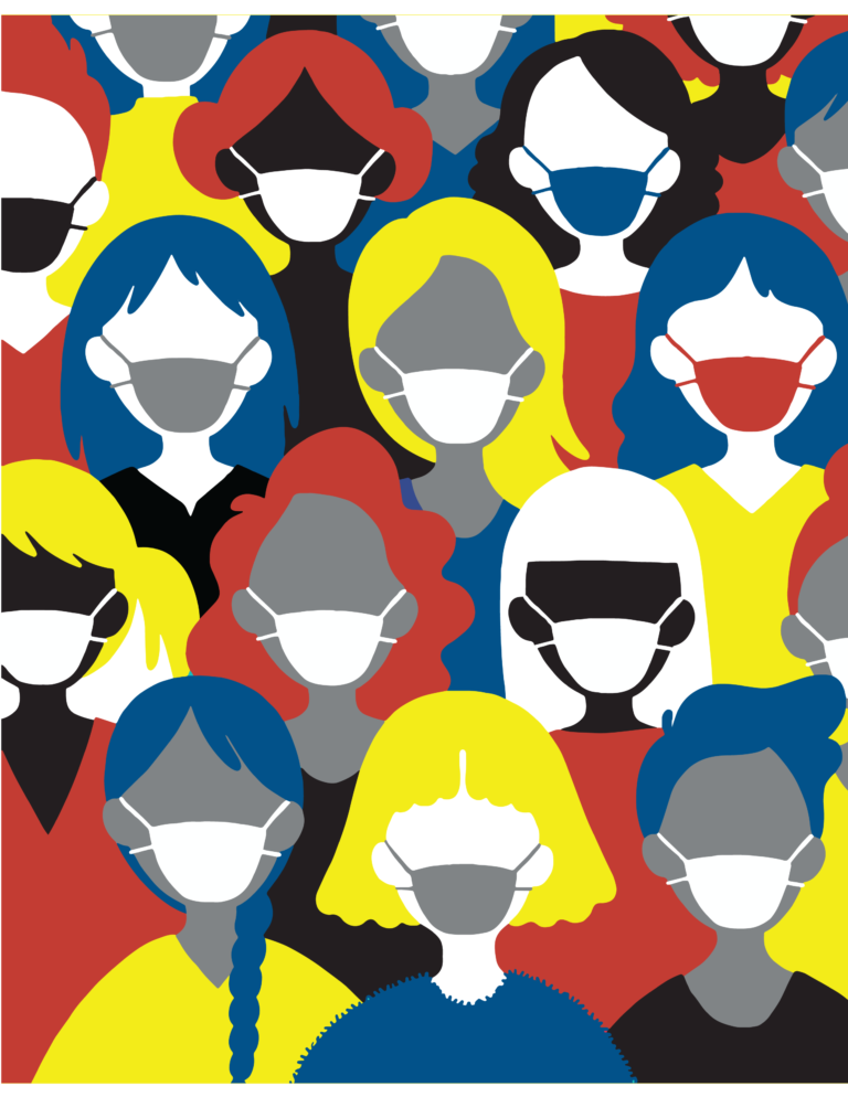 colorful animated people in masks graphic